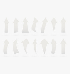 set white popular arrow sticker isolated origami vector image