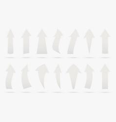 set white popular arrow sticker isolated origami vector image