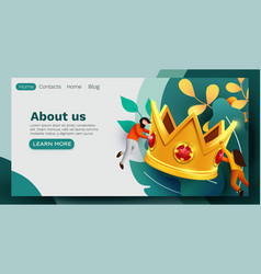 small people flying around big golden crown vector image