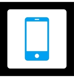Smartphone flat blue and white colors rounded vector image