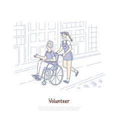 smiling female volunteer helping old man vector image