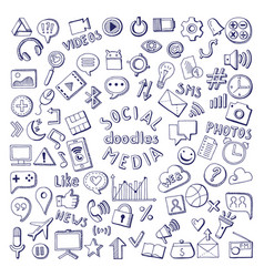 social media hand drawn icons set computer and vector image