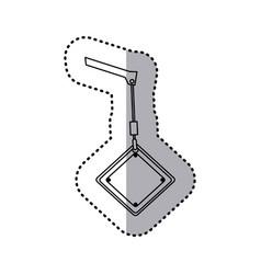 Sticker silhouette crane hook holding a diamond vector