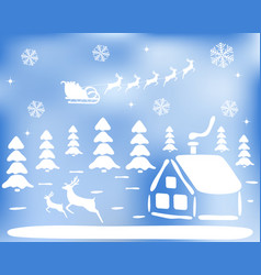 stickers christmas landscape for the holiday vector image