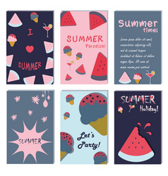 Summer holiday vacation poster set flat design vector