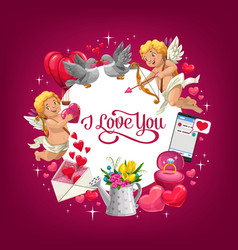 valentines day gifts love hearts and wedding ring vector image