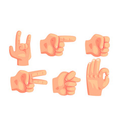 Various hand gestures set male hand showing vector