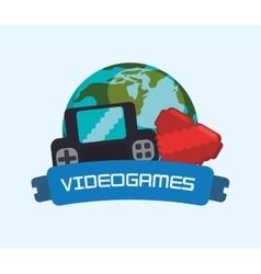 Videogames online world console heart vector