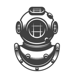 Vintage diving helmet vector