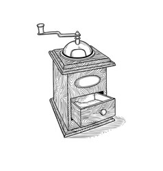 Vintage hand coffee grinder drawn in style vector