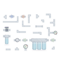 Water filter three modules cleaning set pipes vector