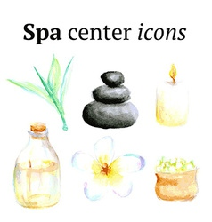 Watercolor spa icons in vintage style vector image