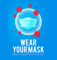 wear your mask coronavirus 2019-ncov medicine vector image