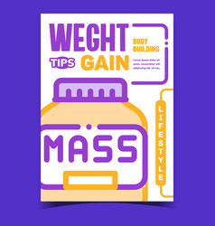 Weight gain tips creative advertise poster vector