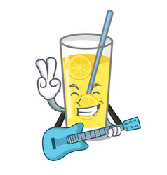 With guitar lemonade mascot cartoon style vector