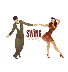 Young couple dancing swing lindy hop or rock and vector