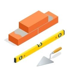 Bricks and masonry tools flat 3d isometric vector