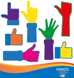 Colorful hands vector image vector image
