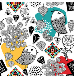 endless pattern with doodle birds and abstract vector image vector image