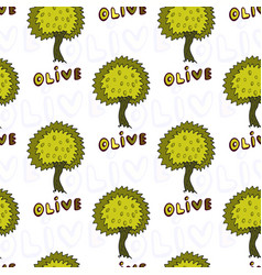 Olives trees seamless pattern doodle background vector