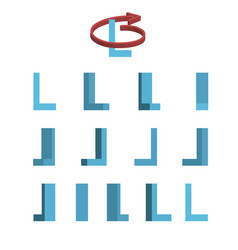 sheet of sprites rotation of cartoon 3d letter l vector image vector image