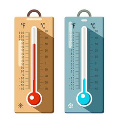 thermometers icons set summer and winter - hot vector image