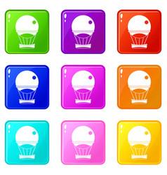 aerostat balloon icons 9 set vector image vector image