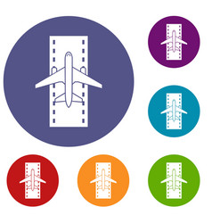 airplane on the runway icons set vector image vector image