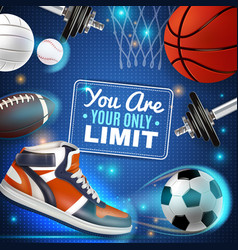 colorful poster with sport inventory vector image vector image