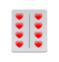 packaging of heart tablets vector image