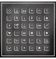 Set of chalk board travel icons vector image