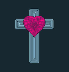 The cross of jesus christ and the heart vector