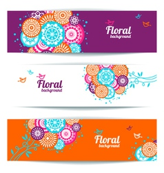 Banners of abstract floral background vector image vector image