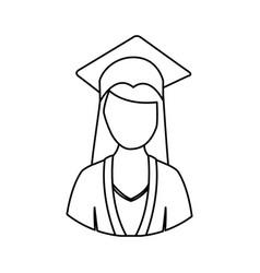 figure woman graduation icon vector image vector image