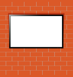 modern tv with blank screen on red brick wall vector image