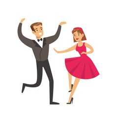 young couple dancing in elegant clothes colorful vector image vector image