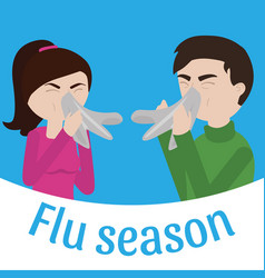 Young sick man and woman ill vector