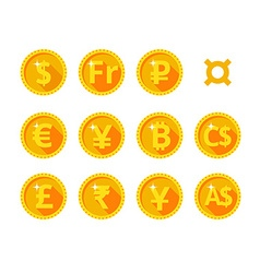 Gold icons of the world currency vector image