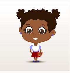 schoolgirl with notebook vector image vector image