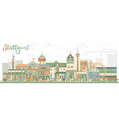 Abstract stuttgart skyline with color buildings vector