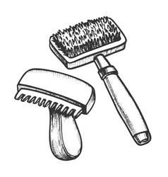 animal grooming hair brushes monochrome vector image