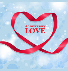 anniversary love ribbon heart blue background vect vector image
