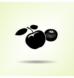 Apple and mandarin icon Two fruits black vector