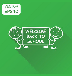 back to school placard in hands icon business vector image