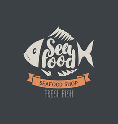Banner for seafood shop with decorative fish vector