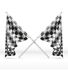 Black and white checkered crossed finish flags vector