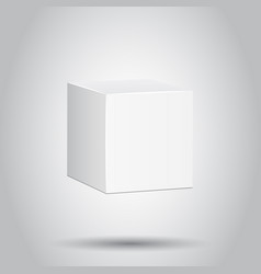 Blank white carton 3d box icon on isolated vector