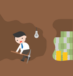 businessman and pickaxe give up for money mining vector image