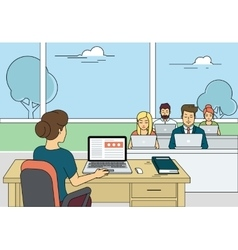 Busy students learning in a university class vector image