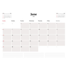 Calendar template for june 2021 business monthly vector